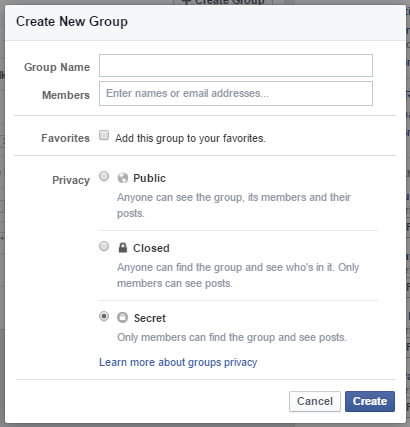 facebook secret group