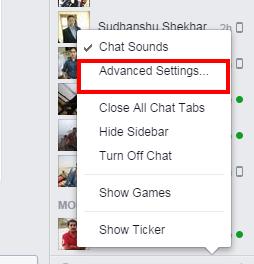 facebook online status