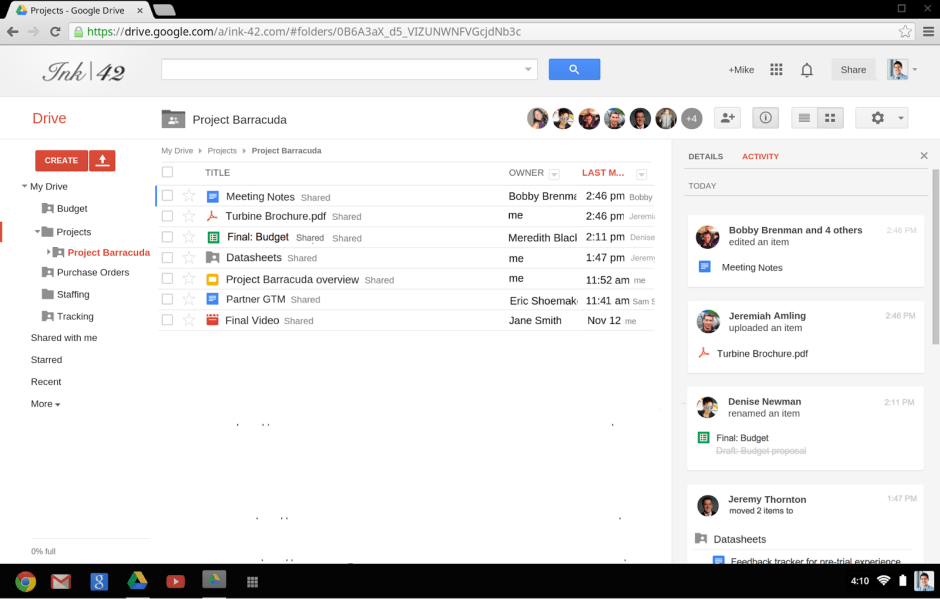 google drive activity log