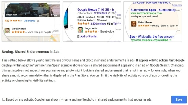 disable google endorsements