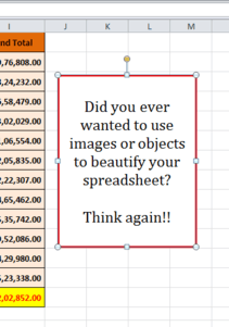 using images in excel