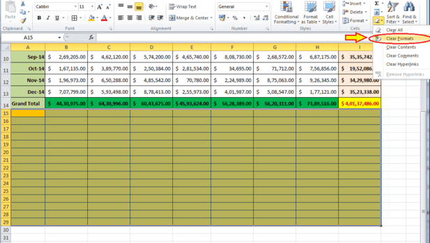 clearing format in excel sheet.