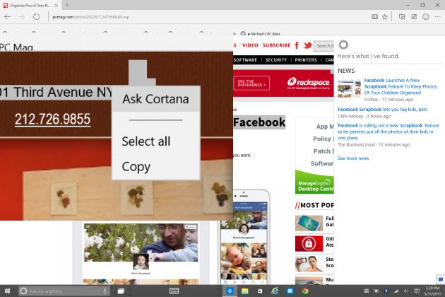cortana in microsoft edge
