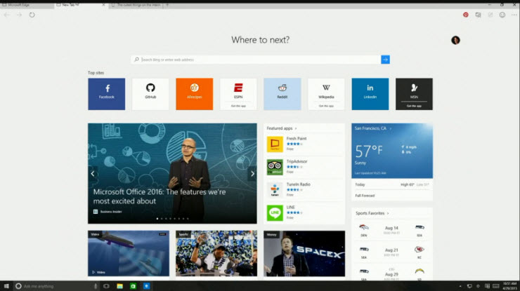 new tab feature in microsoft edge