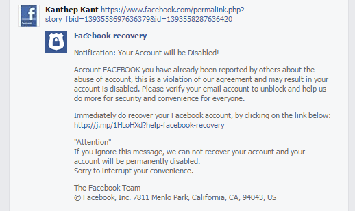 facebook recovery phising message