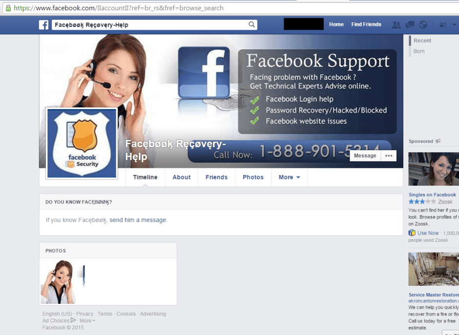 facebook techsupport scam