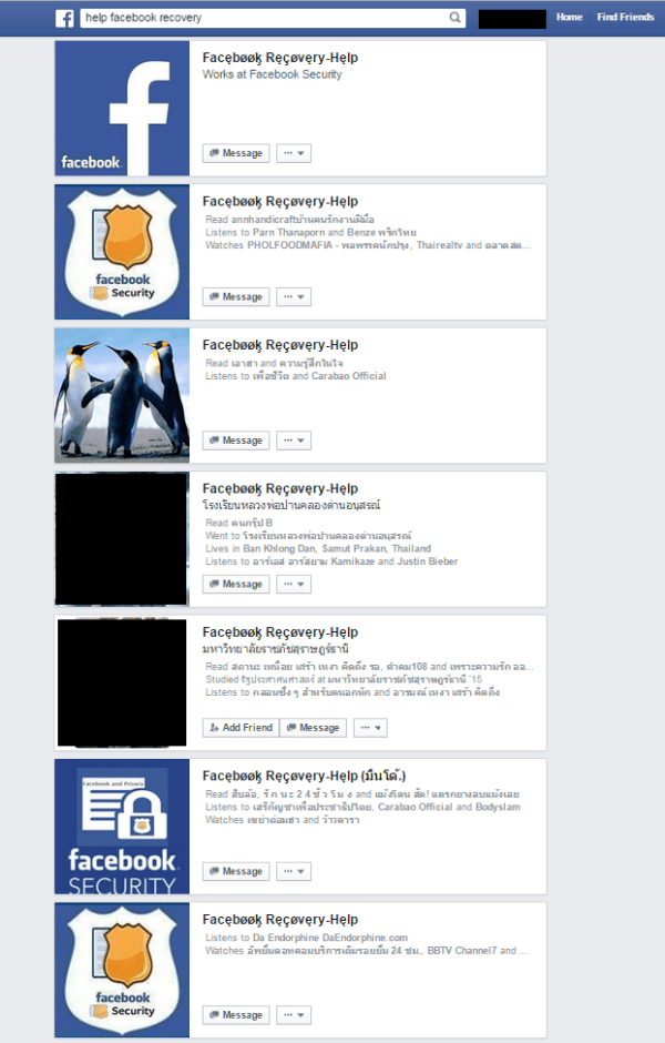 facebook recovery fake accounts
