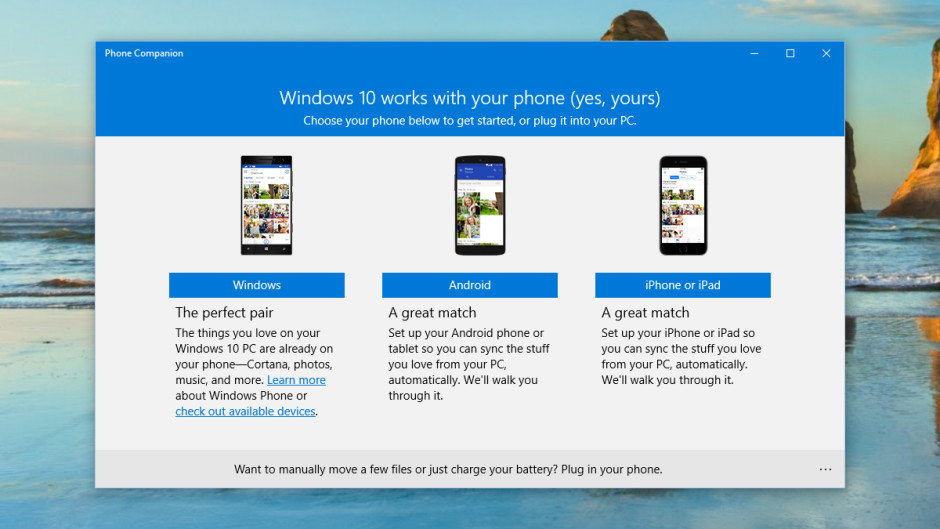 windows 10 in iOS and Android.