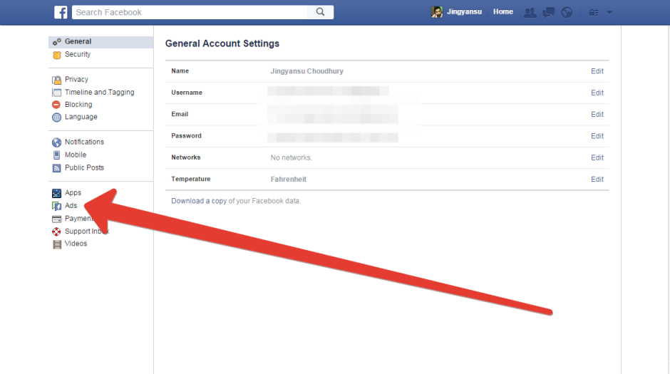 ads option in facebook