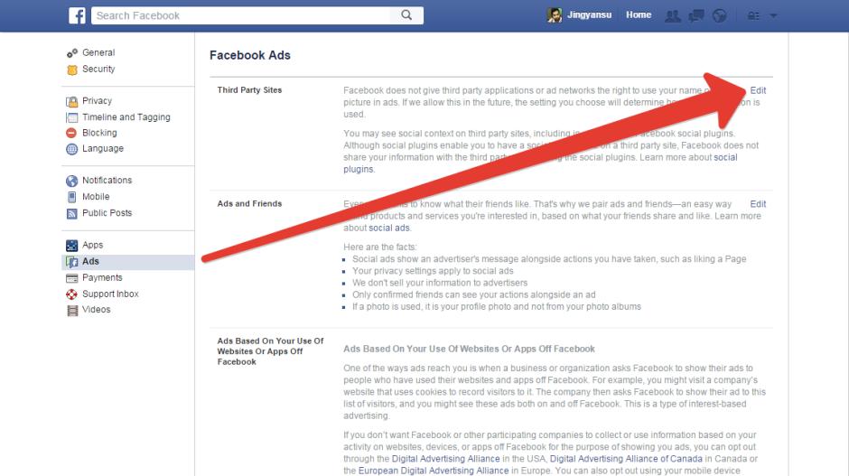 ad edit option in facebook