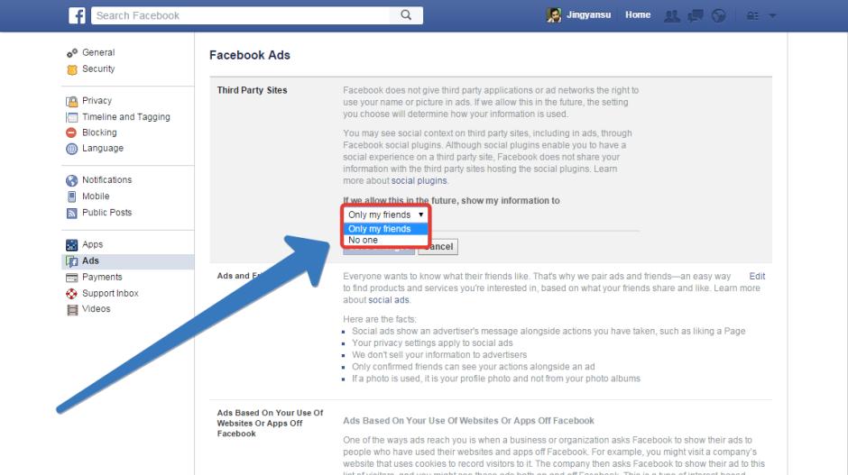 inside facebook ad edit menu