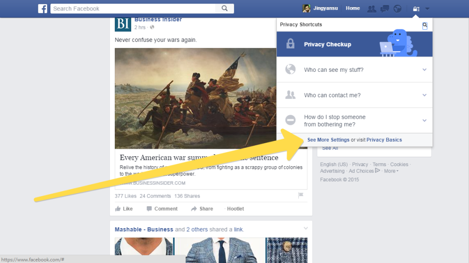 facebook setting walk through