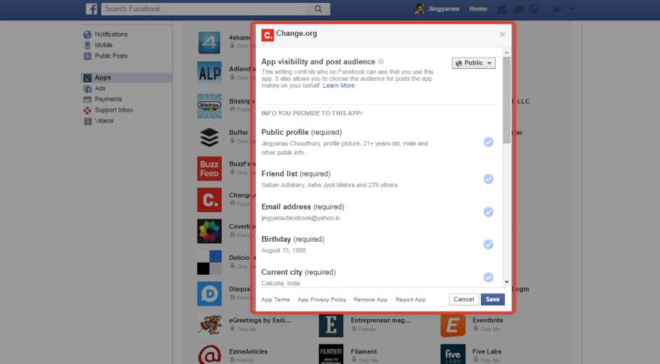 checking app details in facebook