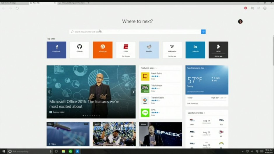 Microsoft Edge browser in windows 10