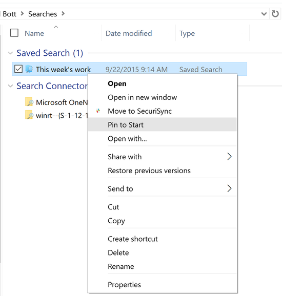 pin saved searches in windows10