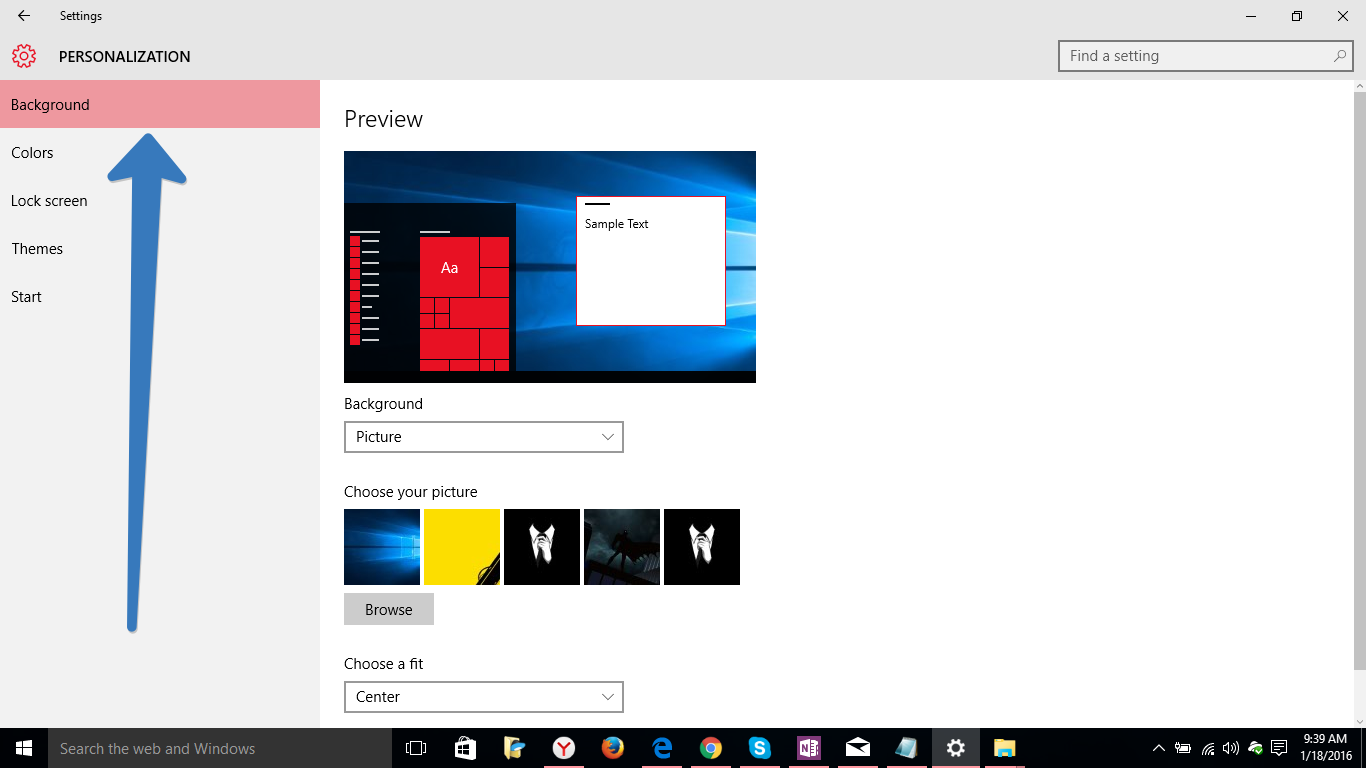 Personalization in windows 10