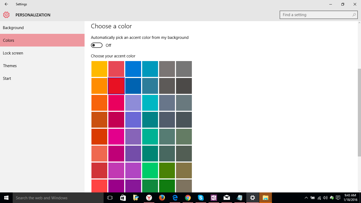 color option in windows 10