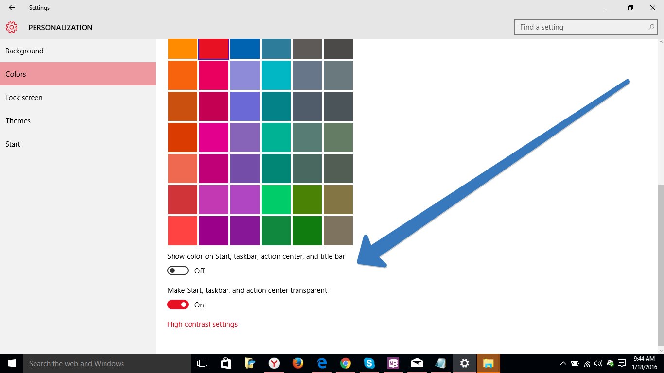 color modification in windows 10