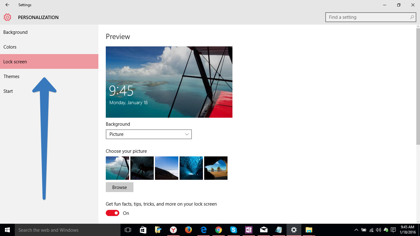 lock screen option in windows 10
