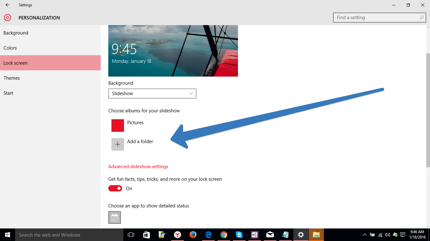 slideshow in windows 10