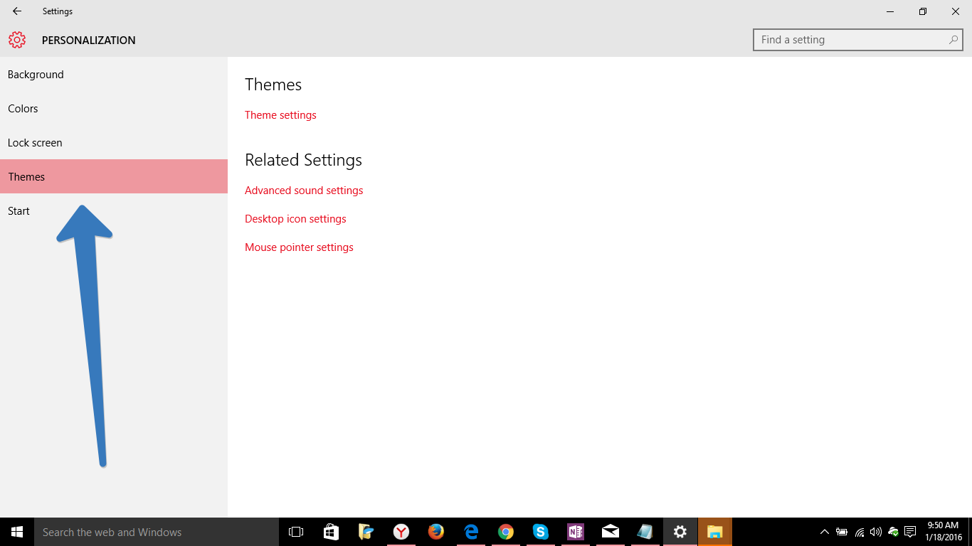 theme setting in windows 10