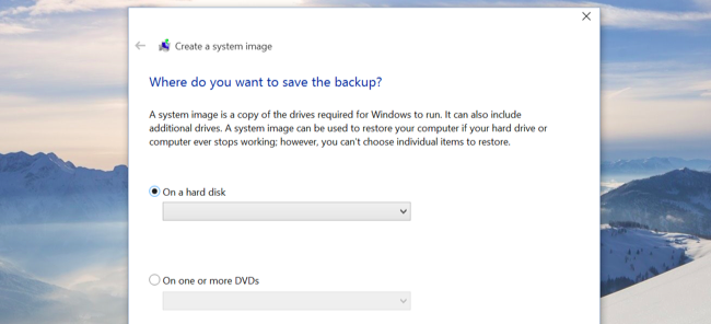 System Image Backups in Windows 10