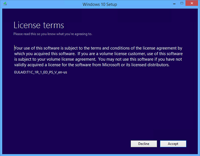 windows 10 setup license terms