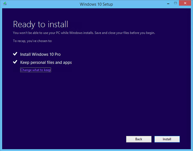 windows 10 ready to install screen