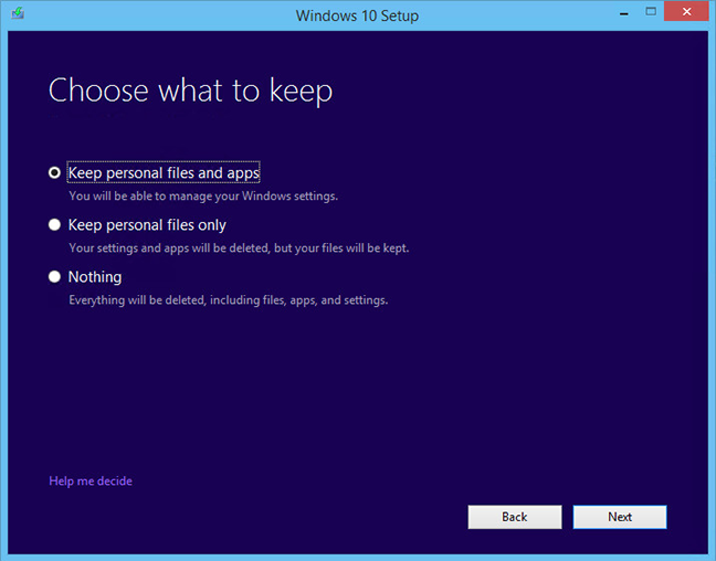 windows 10 installation what to keep option