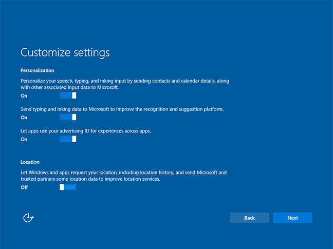 windows 10 customization setting