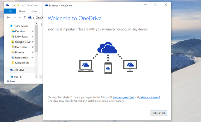 onedrive backup in windows10