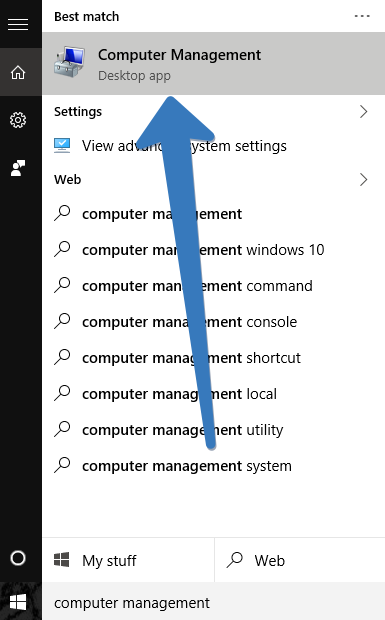 computer management in windows 10