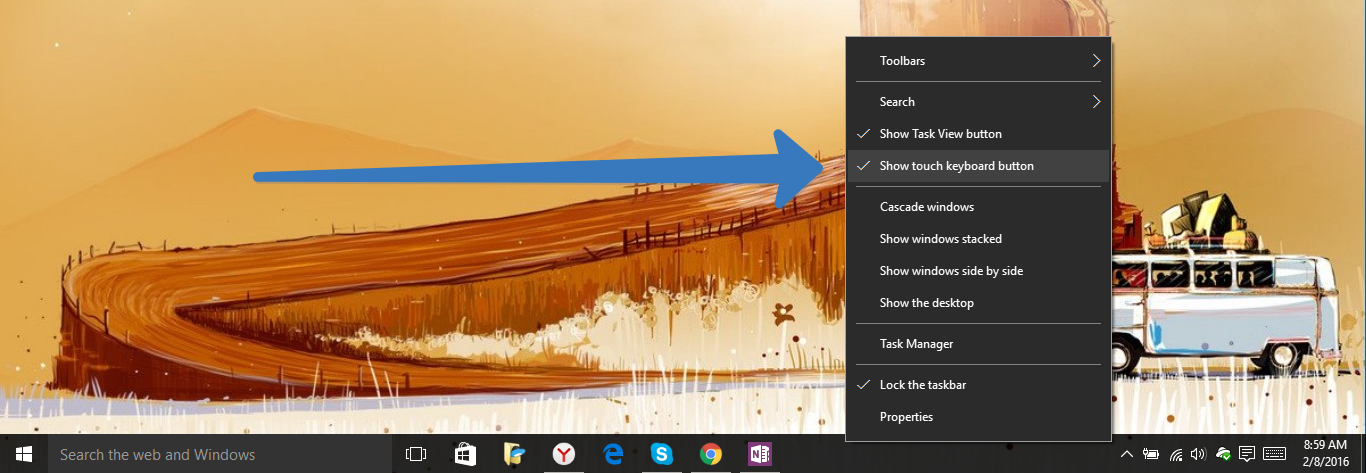 On-Screen keyboard in windows 10
