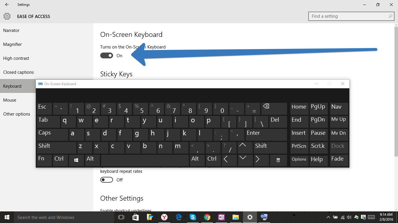 ease of access keyboard in windows 10