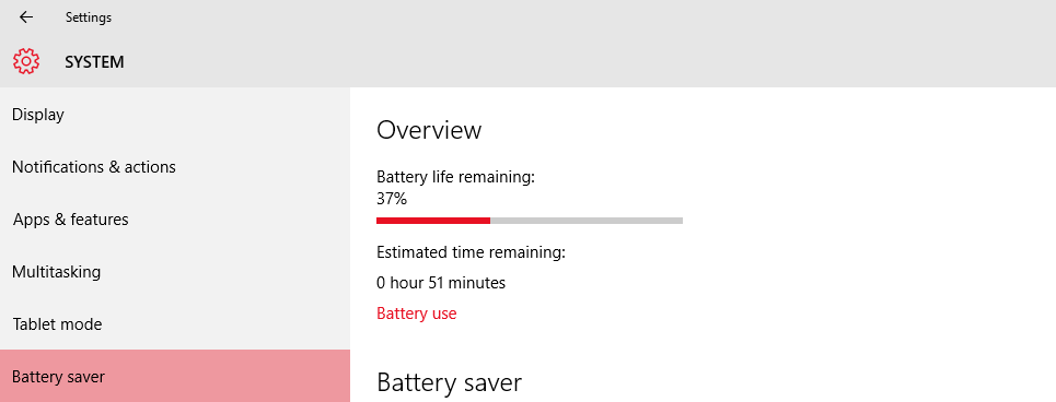 battery saver option in windows 10