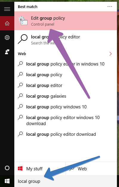 local group policy editor in windows 10