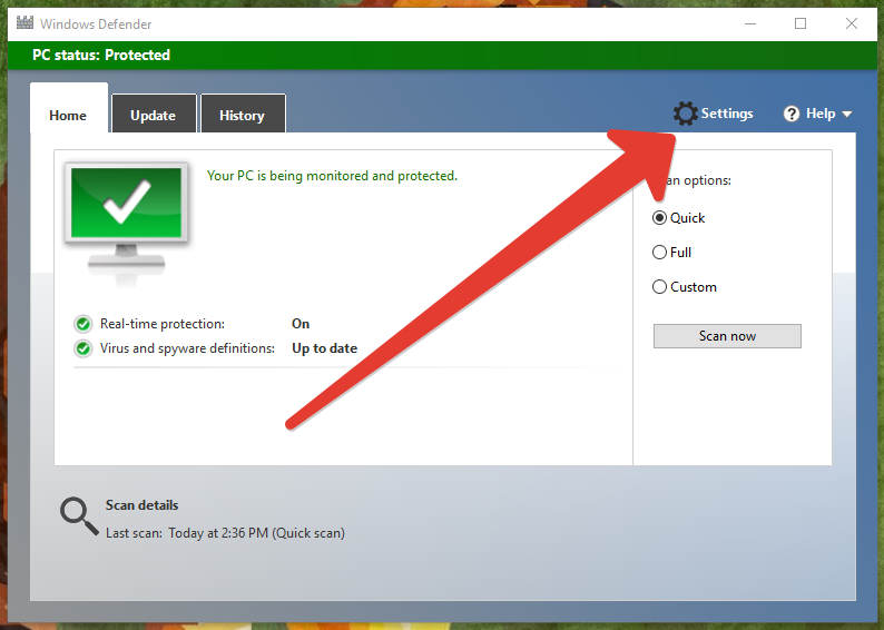 Windows defender setting
