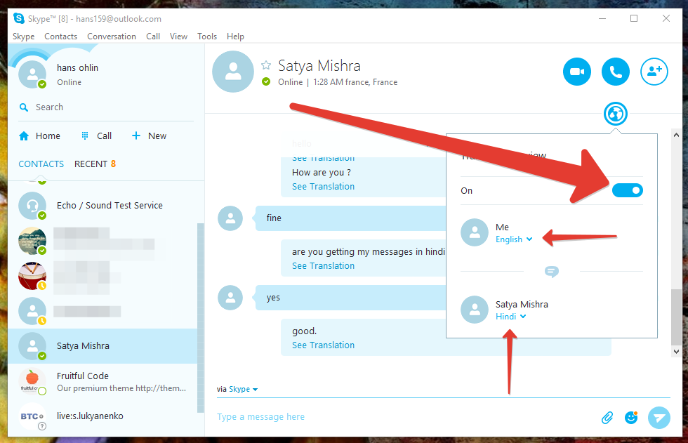 how to enable skype translator