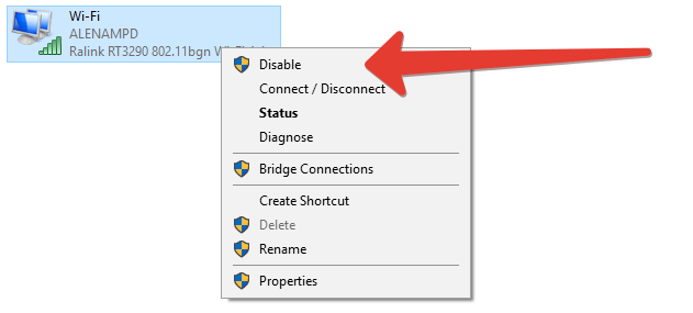 disable wireless connection in windows 10