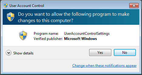 user account control in windows 7