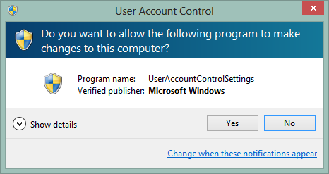 user account control in windows 8