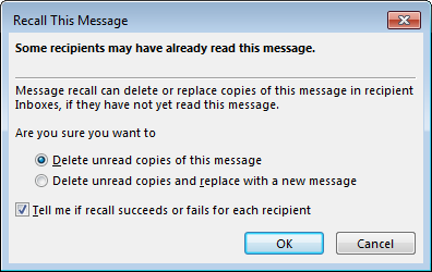 recall sent mails in outlook