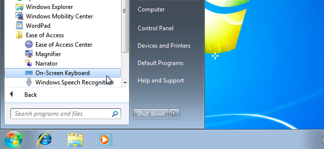 On-Screen keyboard in Windows 7