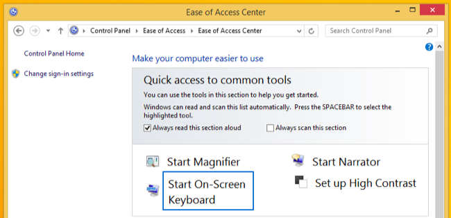 On-Screen keyboard in windows 8.1