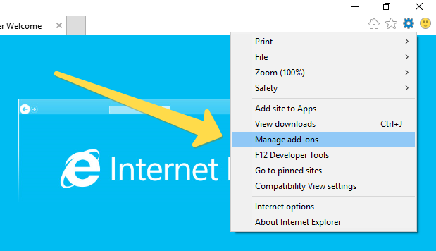 manage add on in internet explorer