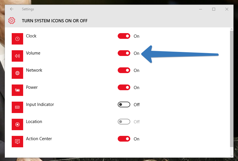 Toggle the button next to Volume to turn it on.