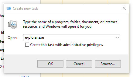 open explorer.exe in windows 10