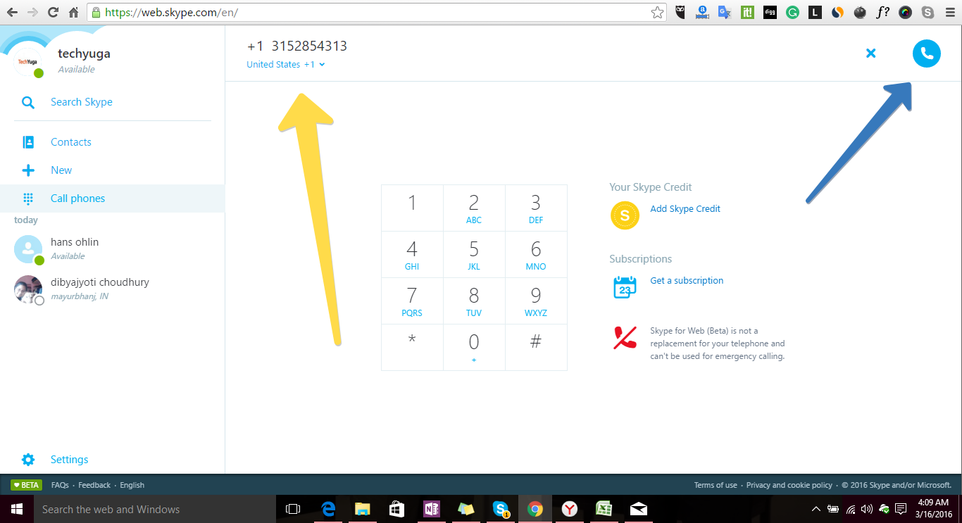 skype for web calling