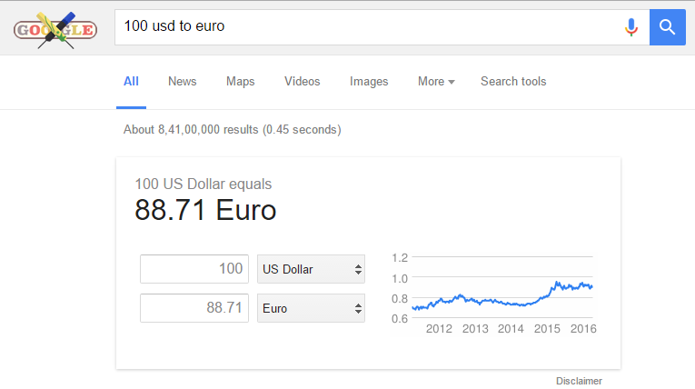 currency convert in google