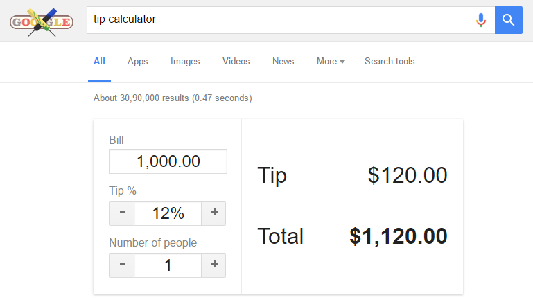 tip calculator in google